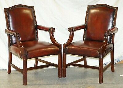 Nice Pair Of Restored Vintage Aged Oxblood Leather Gainsborough Carver Armchairs