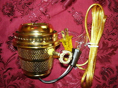 Brass Electric Burner with night light fits Aladdin oil lamp Alladin