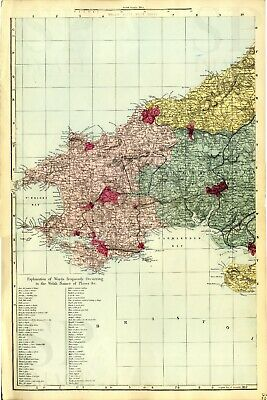 1883 Antique Map WALES SW Houses CASTLES Railways STATIONS Victorian DETAILED