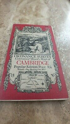 Vintage 1920 Ordnance Survey Contoured Road Map Cambridge Sheet 85 Cloth