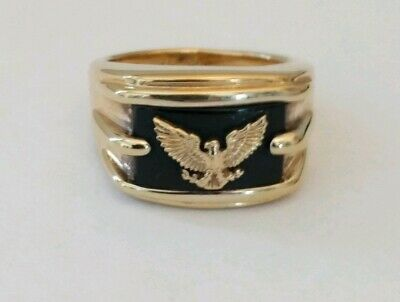 Vintage Franklin Mint 925 Sterling Silver 14k Gold Plated Eagle Ring Size 11.25