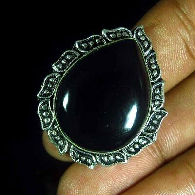 75.15 Ct Natural Black Onyx Silver Plated Ring Vintage Designer Jewelry Cabochon