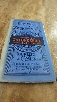 Vintage c1920s Tourists & Cyclists Map OXFORDSHIRE Sheet 24 Cloth Backed