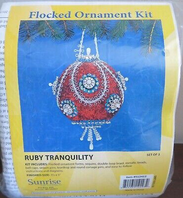 Sunrise RUBY TRANQUILITY Bead Christmas Ornament Kit Red White Blue Makes 3 NEW