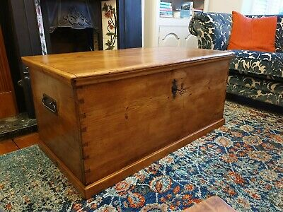 Antique Victorian Vintage Old Pine Chest / Trunk / Blanket Box / Coffee Table