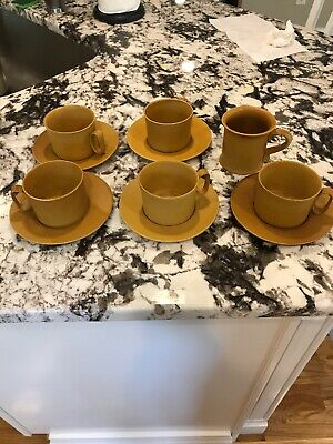 5 Vintage Bennington Potters Mustard Yellow 1626 1627 CUP SAUCER SETS And 1733