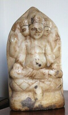 18th c. Indian marble votive statue/stele of three headed Shiva.