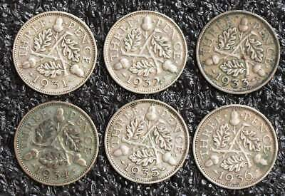 George V 6 x three pence, 3d 1931 to 1936