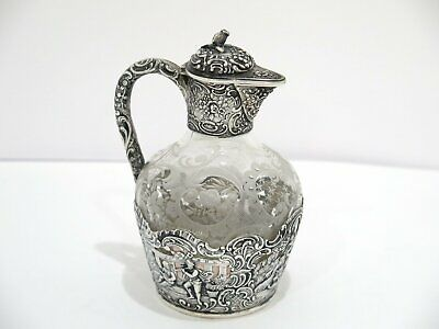 5.75 in European Silver Glass Antique German Hanau Playing Music Small Decanter