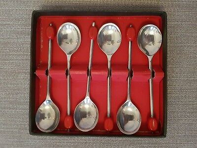 Vintage Art Deco Silver Plated Red Coffee Bean Spoons Box of 6 EPNS