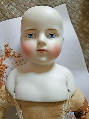 """Antique 17"""" Dome Head Painted Eye Bisque Shoulder Head Doll Flawed"""