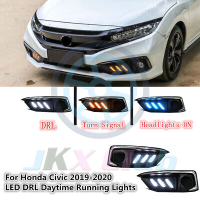 Clear LED DRL Daytime Running Lights Turn Signal Fit For Honda Civic 2019-2020