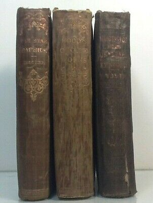 1857~Old Brown 3 Book Lot~Antique Distressed Set~WASHINGTON~HOOD~STAR PAPERS