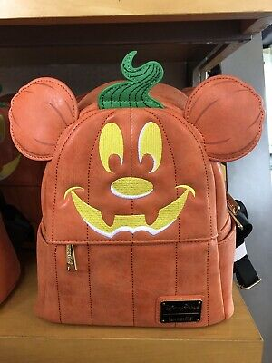 Disney Parks Halloween Mickey Mouse Pumpkin Backpack Loungefly Purse NWT
