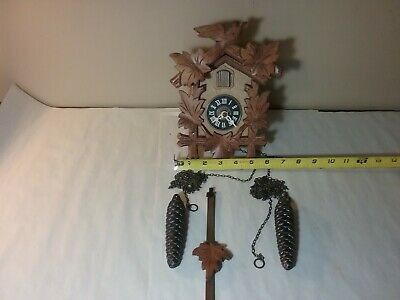 Small Vintage Cuckoo Clock With Pendulum And Weights Works