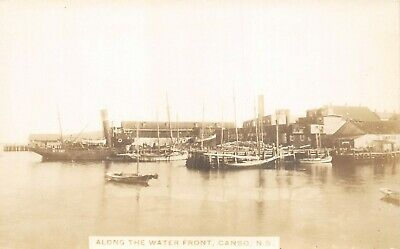 Ships Along The Waterfront Canso Nova Scotia SHP 401 RPPC Real Photo
