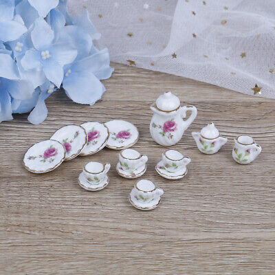15Pcs 1:12 Dollhouse miniature tableware porcelain ceramic coffee tea cupsR uh