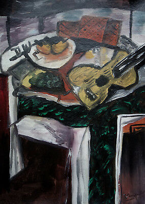 Very rare museum Cubist Still life oil painting, Braque, Signed, unique