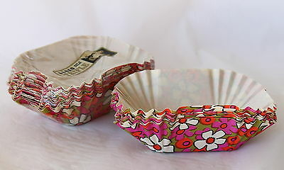 Vintage RETRO Flower Power Paper Hors d'oeuvres Snack Bowls Individual Party