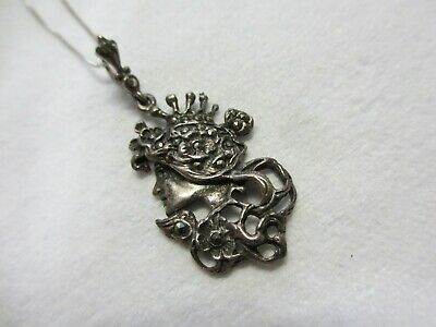 ANTIQUE VICTORIAN  STERLING SILVER PORTRAIT of a LADY NECKLACE
