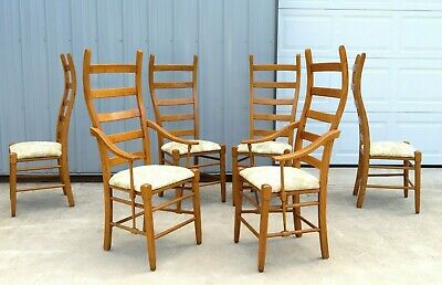 VTG Mid Century TALL CURVED LADDER BACK DINING CHAIRS SET by LANE Gio Ponti RARE