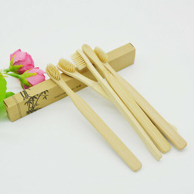 Khaki Bamboo Toothbrush Wood HandleSoft Bristles For Adult Oral Care 10Pcs New