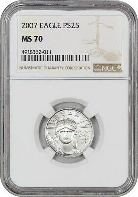 2007 Platinum Eagle NGC MS70 - Statue Liberty 1/4 oz