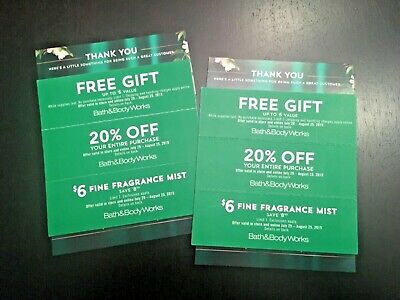 (6) BATH AND BODY WORKS COUPONS 20% Off Online & In-Store & More! Exp. 8/25