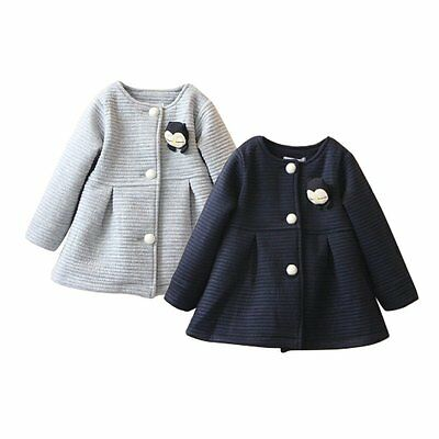 Kids Toddler Hooded Outerwear Jacket Clothes Winter Baby Girls Warm Trench Coat