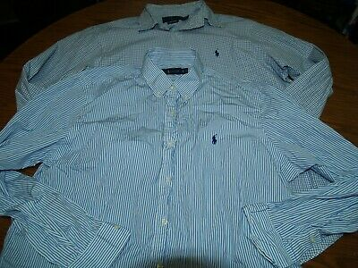 Lot Of 2~Mens~Polo By Ralph Lauren Button Fron Shirts~Sz Xl~L/s Striped Checked