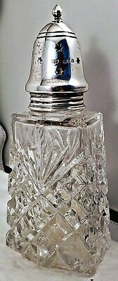 Ant Robert Pringle LONDON STERLING SILVER & CUT GLASS MUFFINEER SUGAR SHAKER NR