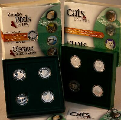 Lot of 3: 1999 & 2000 Canada Silver 50 Cent Birds & Cats Coin Sets (ASW 2.48 oz)