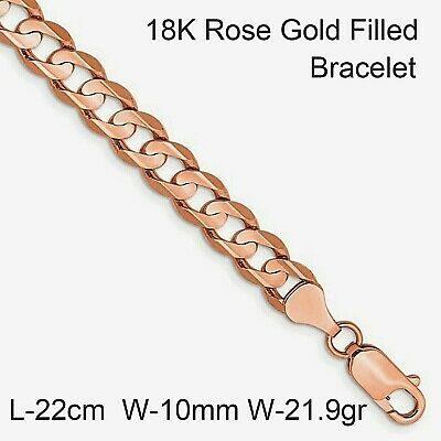 Necklace Pendant Chain Real 18k Yellow G/F Gold Solid Curb Link Design 55cm