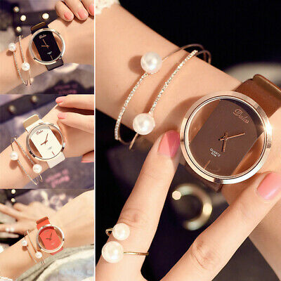 Novelty Girl Women Classic Quartz Casual Watch Leather Strap Wrist Watches Gift