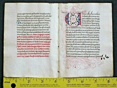Rare Dutch liturgical paper Manuscript,double-leaf,Deco Initia.done in 1501 #2a