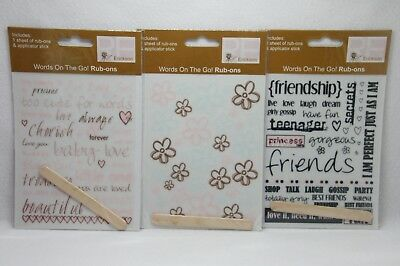 Scrapbook rub ons NEW 3 packs Baby Girl and flowrs and Teenage Girl