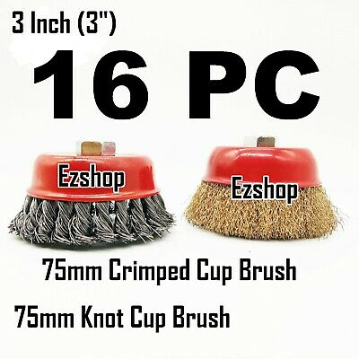 """16 Wire Cup Brush Wheel 3"""" (75mm) for 4-1/2"""" (115mm) Angle Grinder Twist Knot"""