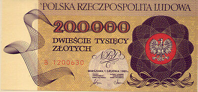 POLAND: 2 00 000 ZLOTYCH  UNC and SCARCE  1989    NO  RESERVE