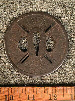 Antique Japanese Sword Guard Tsuba Mum Flower Signed Old Hand Forged Iron 3""