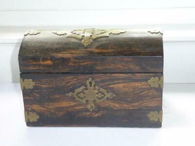 ANTIQUE 19th CENTURY COROMANDEL WOOD GILT BRASS TEA CADDY w DOME LID circa 1860
