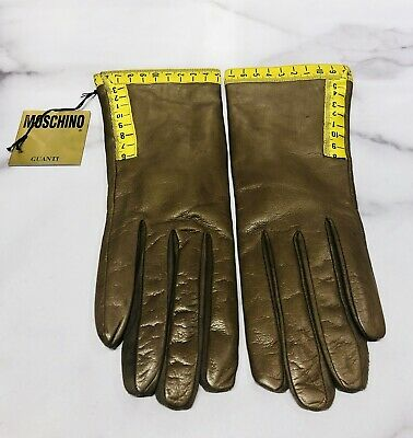 MOSCHINO Milano Brown Leather Measuring Tape Gloves