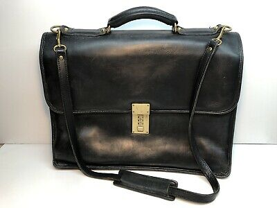 1cf4a152fd96 JACK GEORGES BELTING Triple Gusset Leather Briefcase w/Combination ...