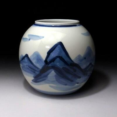LR6: Japanese hand-painted porcelain vase, Kyo ware, Blue and white, Mountain