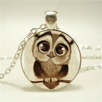 Fashion Steampunk Owl Photo Cabochon Glass Silver Pendant Chain Necklace Jewelry