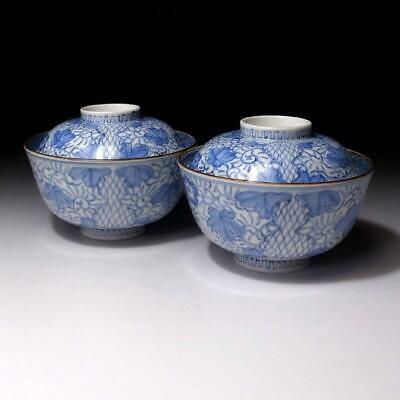 JQ11 Antique Japanese Hand-painted Porcelain Covered Bowls, Imari ware