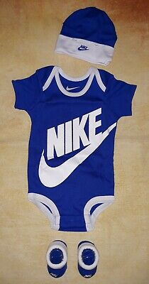 f08db7fa8 NIKE BABY BOY 6-12M 6 9 12 Month Bodysuit Hat Booties Outfit Set NWT ...