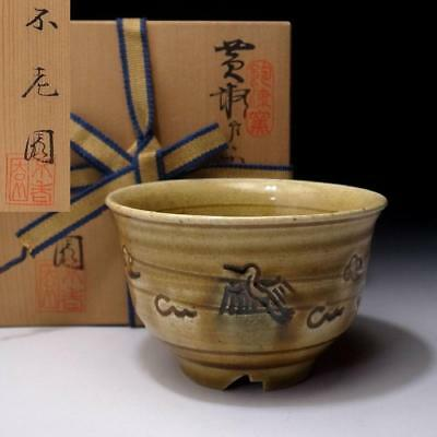 IF4: Vintage Japanese Tea Bowl, Seto Ware with Signed wooden box, Kizeto style