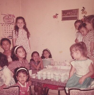 Vintage Photograph Little Girls At A Birthday Party 1960s E