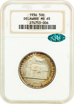 1936 Delaware 50c NGC/CAC MS65 (OH) Old NGC Holder - Old NGC Holder