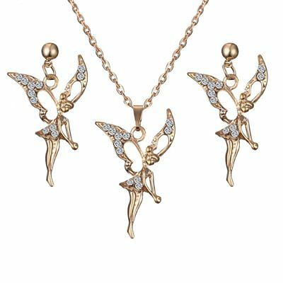 Fashion Gold Plated Crystal Fairy Angel Earrings Necklace Set Women Jewelry Gift